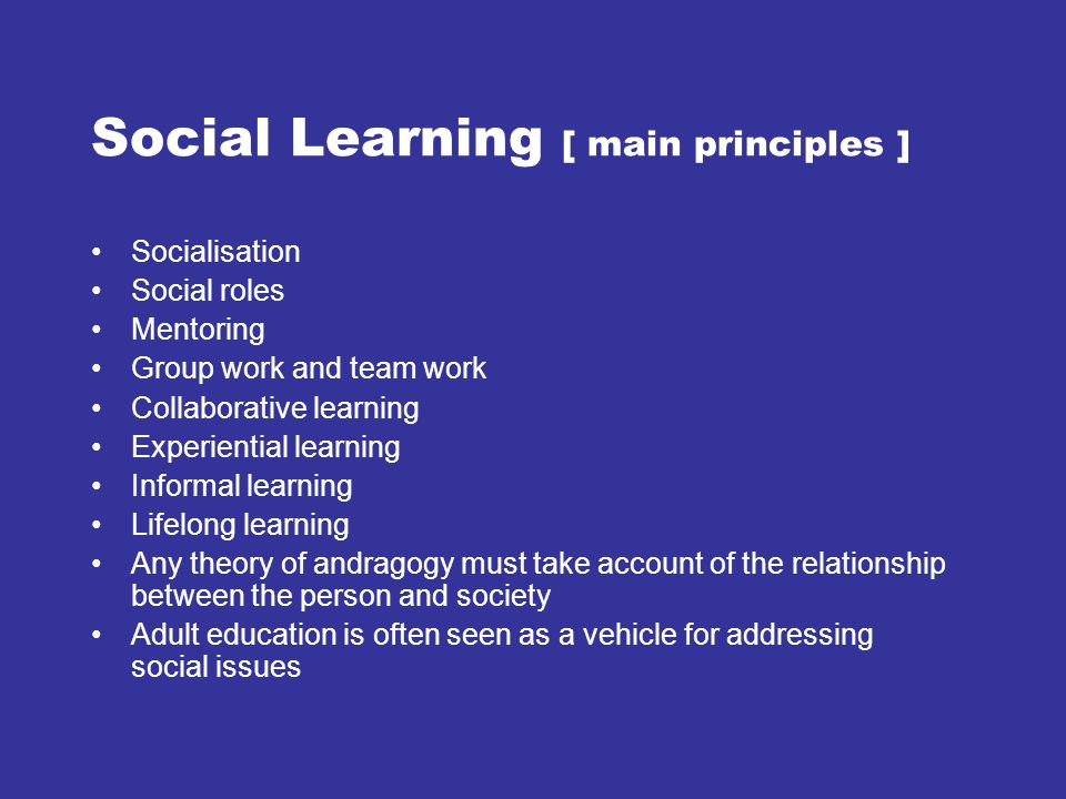 Social Learning [ main principles ]